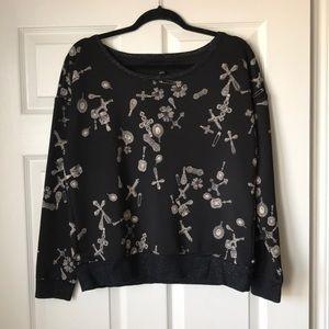 Rock & Republic black keys print shimmer pullover